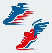 image of shoe  - Running shoes with speed and motion trails and with wings - JPG