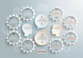 foto of gear wheels  - 8 gears with 2 heads and speech bubbles wheels on the gray background - JPG