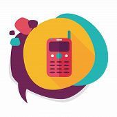 image of handphone  - Mobile Phone Flat Icon With Long Shadow - JPG