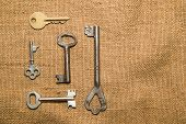 picture of hasp  - Five vintage keys to the safe on old cloth - JPG