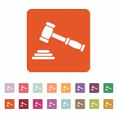picture of symbol justice  - The judge or auction hammer icon - JPG