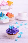 picture of cupcakes  - Delicious cupcakes on table close - JPG