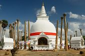 picture of vihara  - Anuradhapura ruin historical capital city of the Sinhalese Buddhist state on Sri Lances The photograph is presenting the Thuparamaya dagoba  - JPG