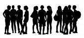 picture of city silhouette  - black silhouettes of three groups of different teen people standing and talking to each other - JPG