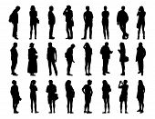 image of ordinary woman  - big set of black silhouettes of men and women of different ages standing in different postures face profile and back views - JPG