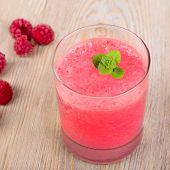 pic of vegan  - Raspberry healthy smoothie drink - JPG