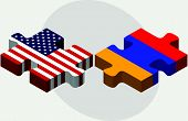 Постер, плакат: Usa And Armenia Flags In Puzzle