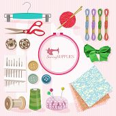 pic of sewing  - Supplies and accessories for sewing on colorful background - JPG