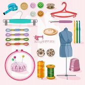 image of sewing  - Supplies and accessories for sewing on colorful background - JPG