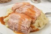 image of pork belly  - Roasted pork belly with garlic mashed potatoes and gravy - JPG