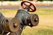 stock photo of underground water  - A water pipes on the green grass - JPG