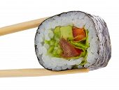 stock photo of chopsticks  - Sushi roll with chopsticks isolated on white - JPG