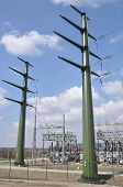 picture of voltage  - Mast, high voltage transformer station energy industry