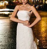 picture of night gown  - Beautiful bride on street in the night - JPG