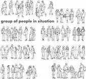 picture of people talking phone  - Silhouettes of walking people - JPG