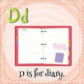 stock photo of letter d  - Flashcard letter D is for diary - JPG