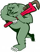 stock photo of grizzly bear  - Illustration of a grizzly bear plumber running holding monkey wrench on shoulder set on isolated white background done in cartoon style - JPG