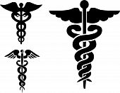 Set of medical caduceus