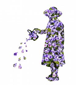 image of superimpose  - Cut out of young girl wearing a hat superimposed with flowers - JPG