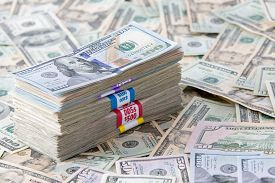 image of 100 dollars dollar bill american paper money cash stack  - Bundled dollar banknotes in different denominations of 20 - JPG