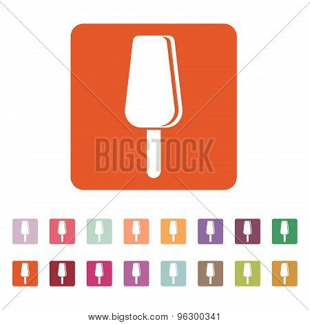 The ice cream icon. Dessert and popsicle, refreshing symbol. Flat