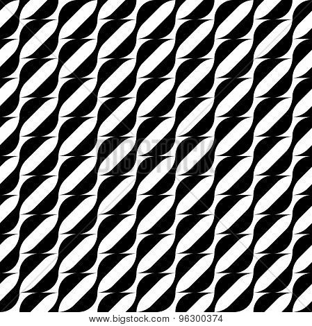 Black And White Geometric Seamless Pattern With Wavy Stripe Line, Abstract Background.