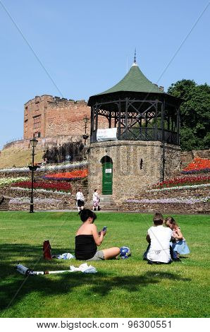 People in Tamworth Castle Gardens.