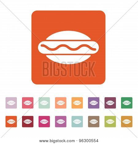 The hot dog icon. Sandwich and baking, fast food symbol. Flat