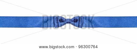 Symmetric Blue Bow Knot On Narrow Silk Ribbon