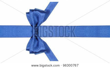 Symmetric Blue Bow With Vertically Cut End On Band