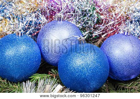 Blue, Violet Christmas Balls, Tinsel, Xmas Tree 1