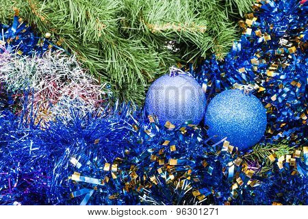 Blue Violet Christmas Baubles, Tinsel, Xmas Tree 8