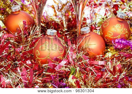 Range Xmas Balls And Red Tinsel With Two Glasses