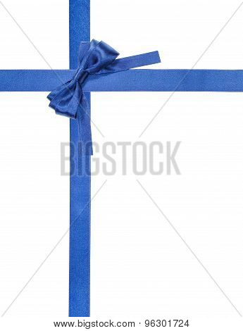 Blue Satin Bows And Ribbons Isolated - Set 6