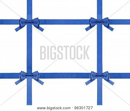 Blue Satin Bows And Ribbons Isolated - Set 30