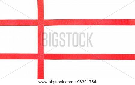 Red Satin Ribbons On White - Set 37