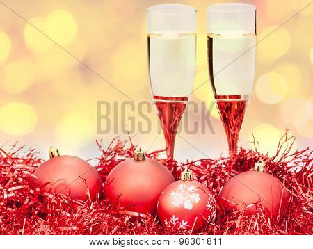 Glasses, Red Xmass Baubles On Blurry Background