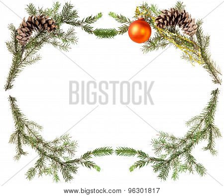 Spruce Tree Branches With Cones And Orange Ball