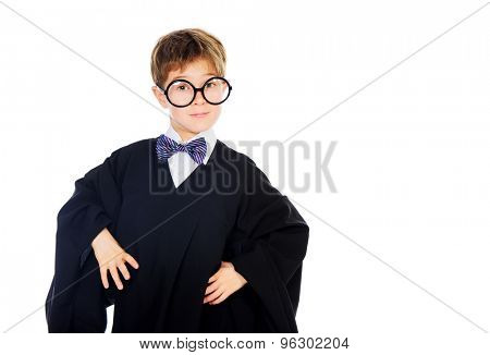 Portrait of a smart student boy in graduation suit. Educational concept. Isolated over white.