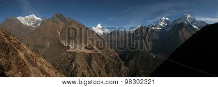 Panorama of the Himalayas pictured from Mong La Pass (3,973 m) in Khumbu region, Himalayas, Nepal.