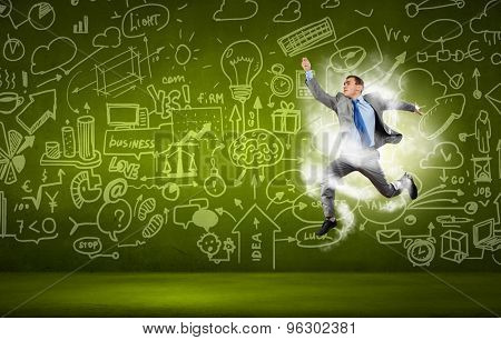 Funny image of running businessman on background of business plan