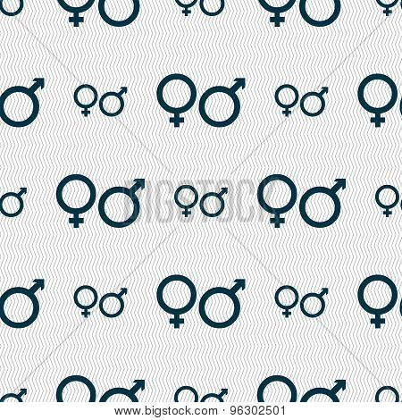 Male And Female Icon Sign. Seamless Pattern With Geometric Texture. Vector