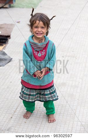 Beggar Girl In Leh, India