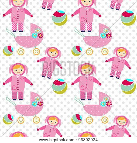 Seamless Pattern With Baby Girl Items Background