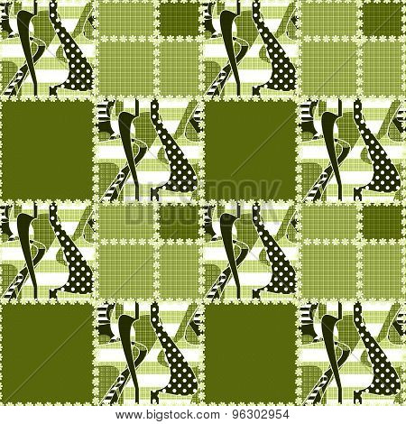 Patchwork Seamless Pattern Ornament Striped Background