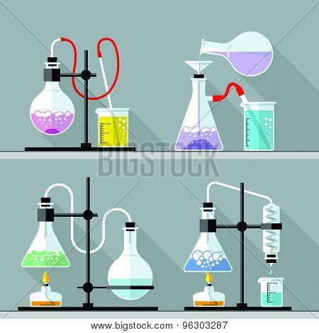 Chemical Research Laboratory. Flat design