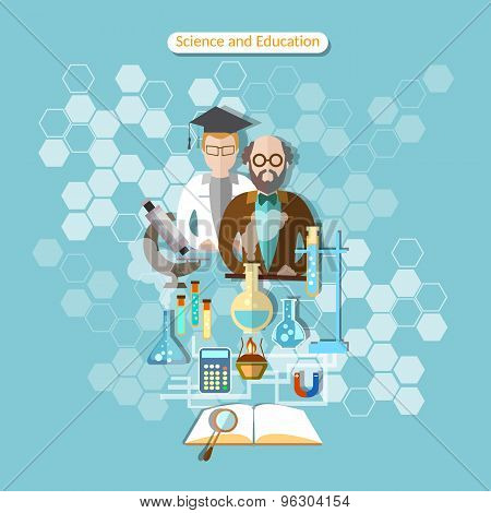Science And Education, Laboratory Research, Professor, Chemistry, Physics, vector illustration