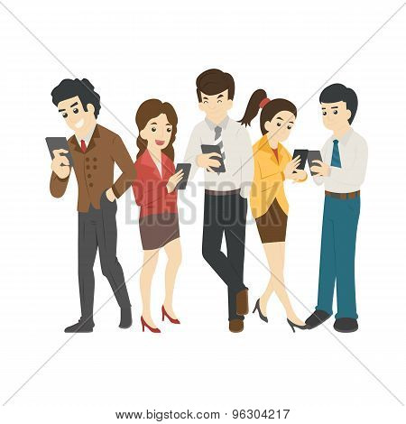 Businessman And Woman Looking At Their Phones , Social Addiction