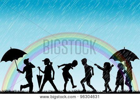 Children Silhouettes Enjoy The Rain
