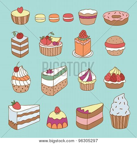 Vector hand drawn cakes, tarts, cupcakes, desserts, bakery and pastry